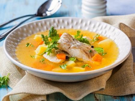 Рибена супа / чорба от лаврак със застройка от прясно мляко и жълтък - снимка на рецептата